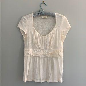 Feminine cream cotton T-shirt top